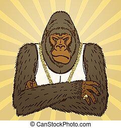 Hand Drawn Angry Gorilla. Vector illustration, eps10. -...