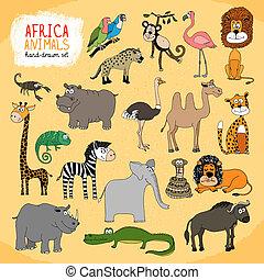 hand-drawn, animales, áfrica, ilustración