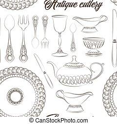 Hand drawn antique silver cutlery set pattern