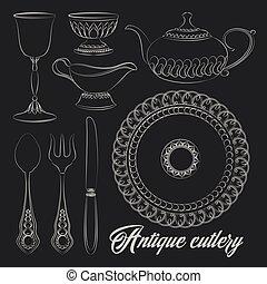 Hand drawn antique silver cutlery set