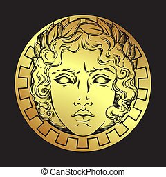 Hand drawn antique style sun with face of the greek and roman god Apollo. Flash tattoo or print design vector illustrarion.