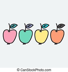 Hand drawn apple in doodle style. Vector illustration.
