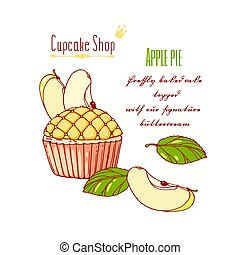 Hand drawn apple pie cupcake with doodle buttercream for pastry shop menu. Fruit flavor