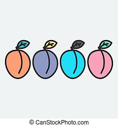 Hand drawn apricot in doodle style. Vector illustration.