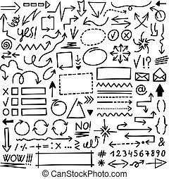 Hand Drawn Arrow Marks Set