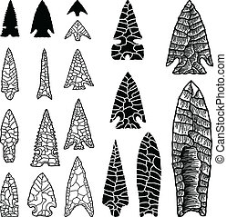 A set of hand drawn stone arrowhead illustrations.
