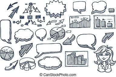 Hand drawn arrows and speech bubbles illustration set 2