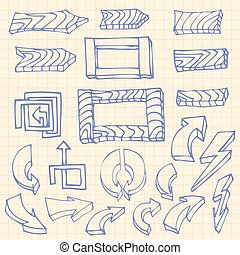 Hand drawn arrows and wooden Board, Frame on squared notebook page background icons set of doodle vector illustration