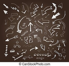 Hand drawn arrows icons set on a chalkboard