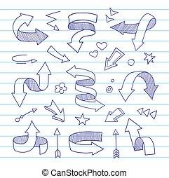 hand-drawn, arrows.