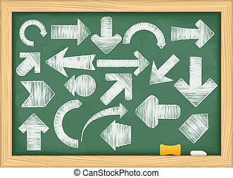 Hand drawn arrows on green blackboard. vector eps10...