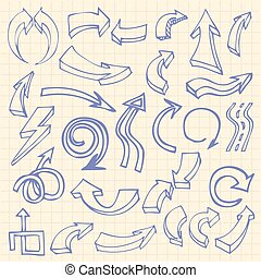 Hand drawn arrows on squared notebook page background icons...