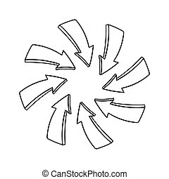 Hand drawn arrows pointing to a center point isolated on...