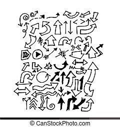 hand drawn arrows set Illustration