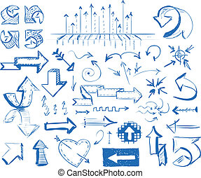 hand drawn arrows set - Hand-drawn arrow doodles on white...