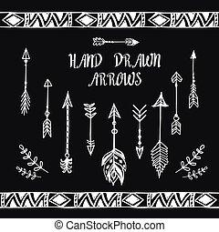 Hand drawn arrows set. Vector illustration