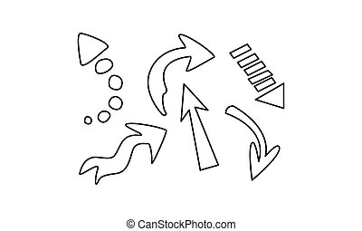 Hand drawn arrows set vector Illustration on a white background