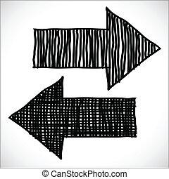Hand drawn arrows, sketch illustration for design