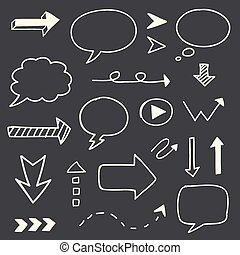 Hand drawn arrows speech bubble sketch set