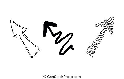 Hand drawn arrows vector Illustration on a white background