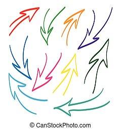 Hand drawn arrows vector set icon illustration