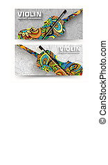 Hand drawn art abstract violin ban ners of the banners of the ornament. Vector illustration concept design