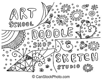 Hand Drawn Art, Doodle and Sketch Vector Elements Isolated