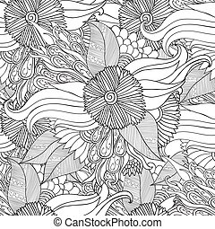Hand drawn artistic ethnic ornamental patterned floral frame in doodle style for adult coloring pages.