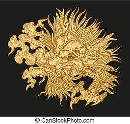 Hand drawn asian dragon head on black background. Vector illustration traditional Chinese dragon mask. Detailed design for print engraved
