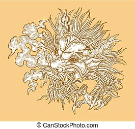 Hand drawn asian dragon head on gold background. Vector illustration traditional Chinese dragon mask. Detailed design for print engraved