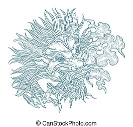 Hand drawn asian dragon head. Vector illustration traditional Chinese dragon mask. Detailed design for print engraved
