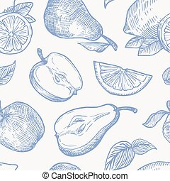 Hand Drawn Autumn Fruits Harvest Vector Seamless Background Pattern. Oranges, Lemon, Apples and Pears Sketches Card or Cover Template