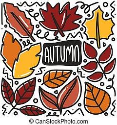 hand drawn autumn leaf doodle set