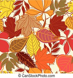 Hand drawn Autumn leaves seamless background