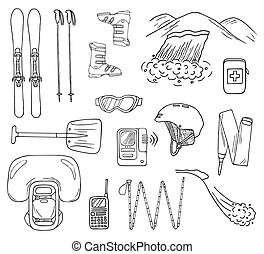 Hand-drawn avalanche safety gear icons in vector - Set of...