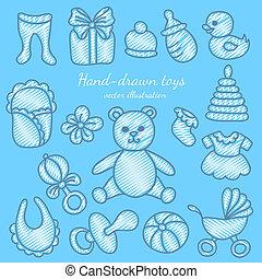 Hand-drawn Baby Icons Set