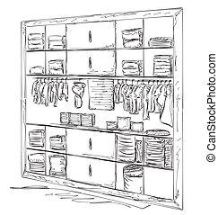 Hand drawn baby wardrobe sketch.