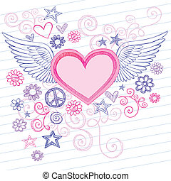 Hand-Drawn Back to School Sketchy Heart with Angel Wings Doodles with Stars, Flowers, and Peace Sign on Lined Notebook Paper Background- Vector Illustration