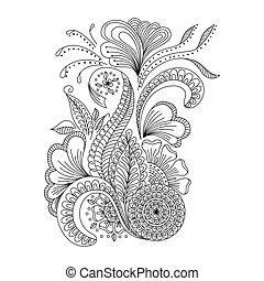 Hand drawn background in doodle or henna style. Design for...