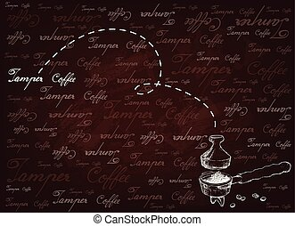 Coffee Time, Illustration Hand Drawn Sketch of Roasted Coffee Beans in Metal Portafilter or Filter Holder with Tamper of Espresso Machine on Brown Background.
