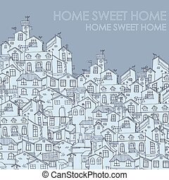 Hand drawn background with doodle houses.