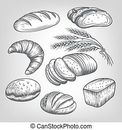 hand drawn bakery icons set