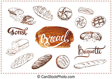 Hand drawn bakery icons set. Vector food sketches