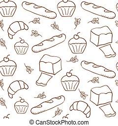 Hand drawn bakery on white background