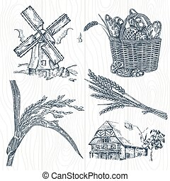 Hand drawn bakery set. Illustration windmill, wheat, farm house in vintage style