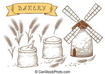 hand drawn bakery set