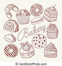 Hand Drawn Bakery Sweets Desserts Doodle. Sketch Set with Cupcake, Cookie, Donut and Muffin. Vector illustration