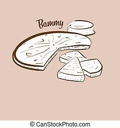 Hand-drawn Bammy bread illustration. Flatbread, usually ...