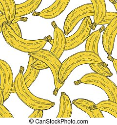 Hand Drawn Banana Fruit Seamless Pattern Background. Vector
