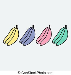 Hand drawn banana in doodle style. Vector illustration.
